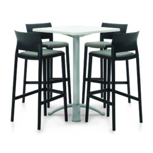 Place individual tables six feet apart in the break room or lunchroom.